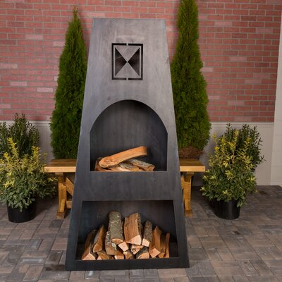 Outdoor Fireplaces You'll Love in 2020 | Wayfair on Quillen Steel Wood Burning Outdoor Fireplace id=94352