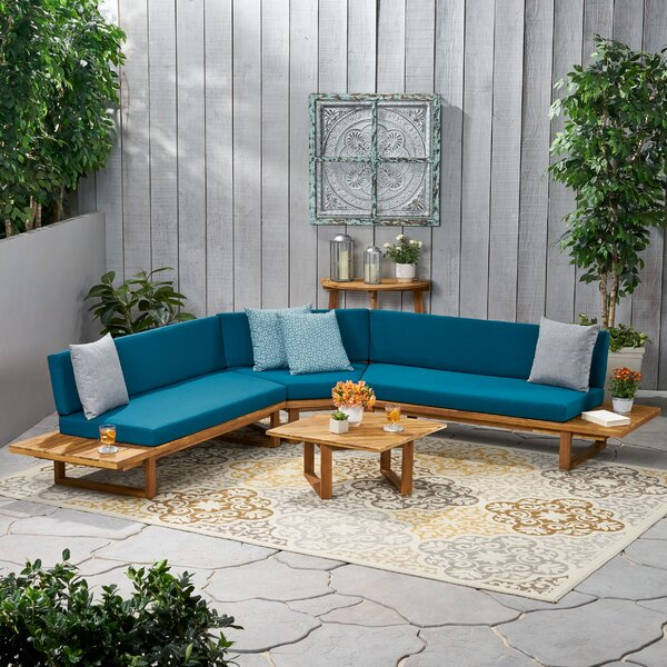 4 Piece Sectional Seating Group With Cushions By Rosecliff Heights by Rosecliff Heights 2020 Sale