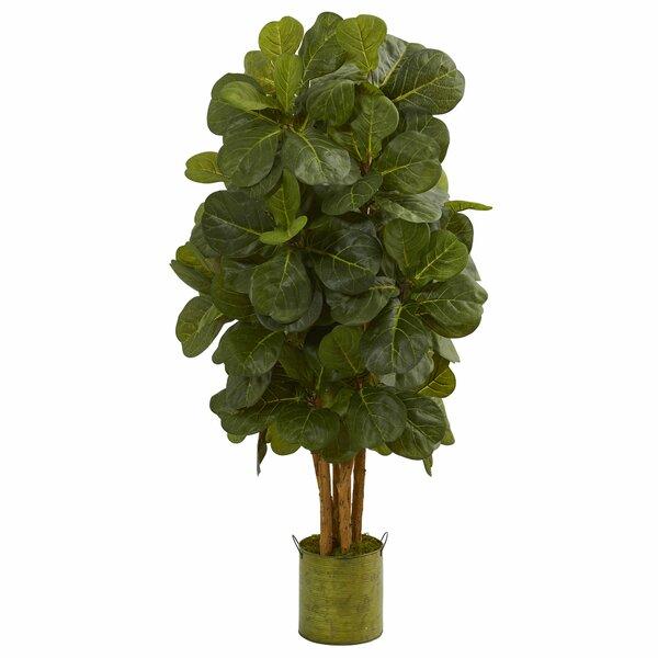 Artificial Floor Fiddle Leaf Tree in Planter by Gracie Oaks