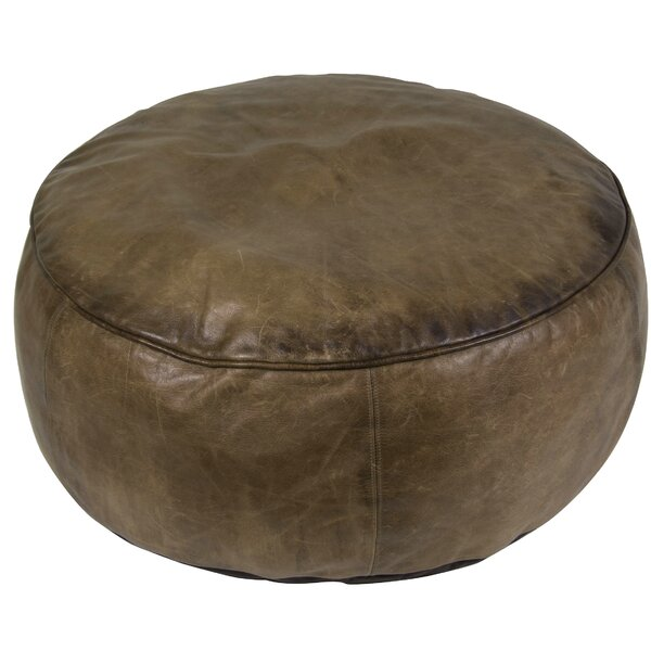 Champion Casual Leather Pouf by Williston Forge