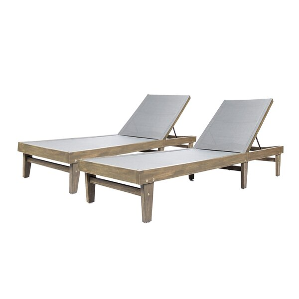 Dereham Outdoor Reclining Chaise Lounge (Set Of 2) By Three Posts