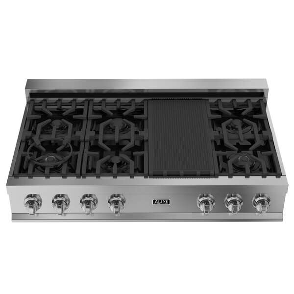 Ceramic 48 Gas Cooktop with 7 Burners by ZLINE Kitchen and Bath