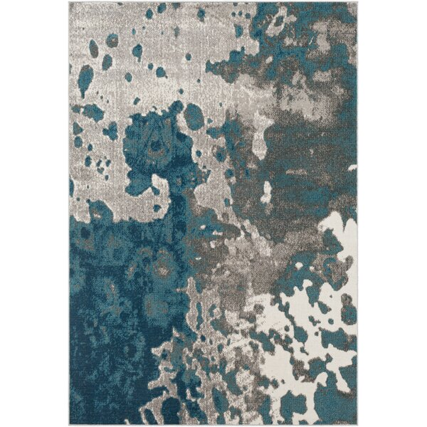 Ramm Distressed Abstract Teal/Taupe Area Rug by Bungalow Rose