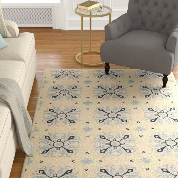 Childers Hand-Hooked Ivory / Blue Area Rug by Charlton Home