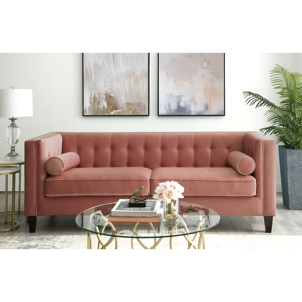 Nice And Beautiful Overcash Velvet Button Tufted Square Tapered Leg Sofa by House of Hampton by House of Hampton