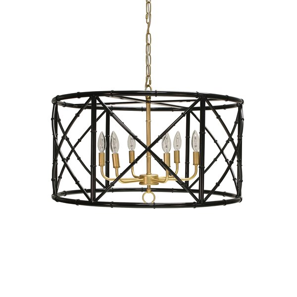 6-Light Candle Style Drum Chandelier by Worlds Away Worlds Away