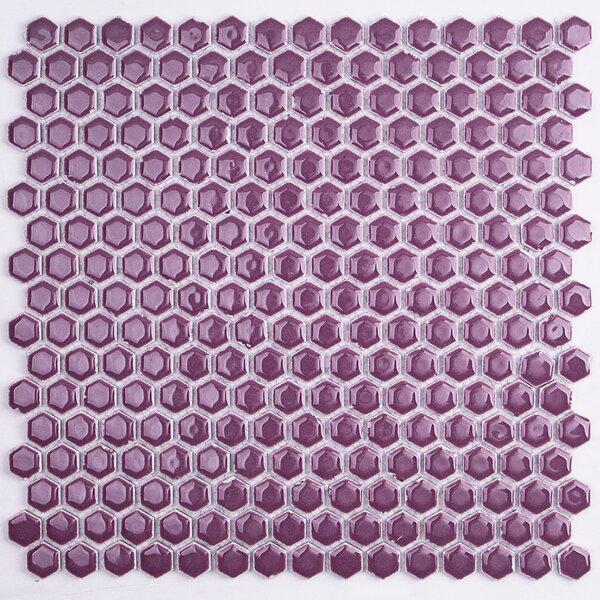 Bliss 0.6 x 0.6 Ceramic Mosaic Tile in Plum by Splashback Tile