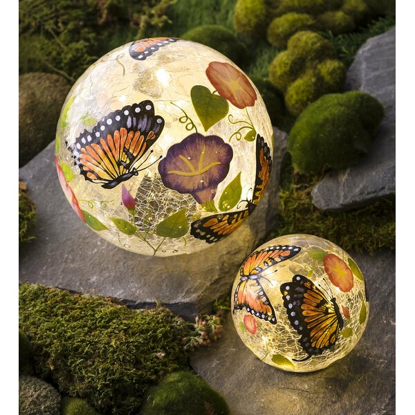 Butterfly Crackle Glass Solar 2 Piece Gazing Globe Set by Plow & Hearth