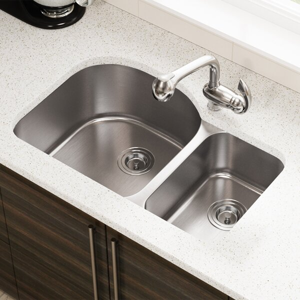 Stainless Steel 32 x 21 Double Basin Undermount Kitchen Sink by MR Direct