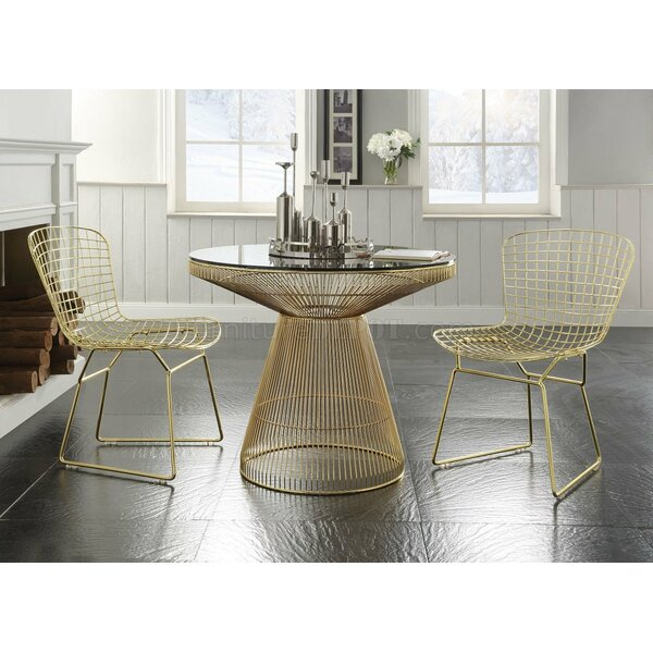 Kuester Metal Round Table 3 Piece Dining Set by Everly Quinn