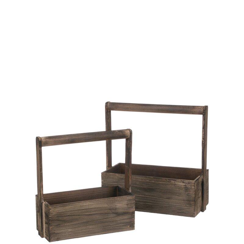 Rectangular Wood 2 Piece Trug Set