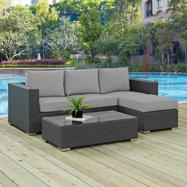 Tripp 3 Piece Sunbrella Sectional Seating Group with Cushion by Brayden Studio