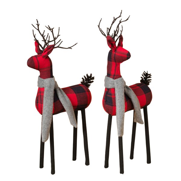 2 Piece Plaid Deer Figurine Set by Gerson Internat