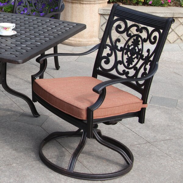 Berenice Swivel Patio Dining Chair with Cushion by Astoria Grand