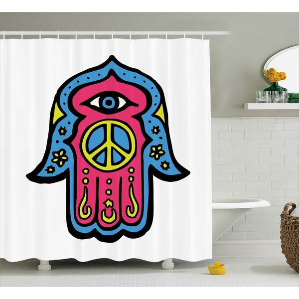 Annette Hamsa Hippie Boho Hand of Fatima With Peace Sign Shower Curtain by Ebern Designs