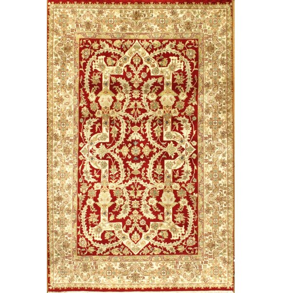 Tabriz Hand-Knotted Wool Red/Ivory Area Rug by Pasargad NY