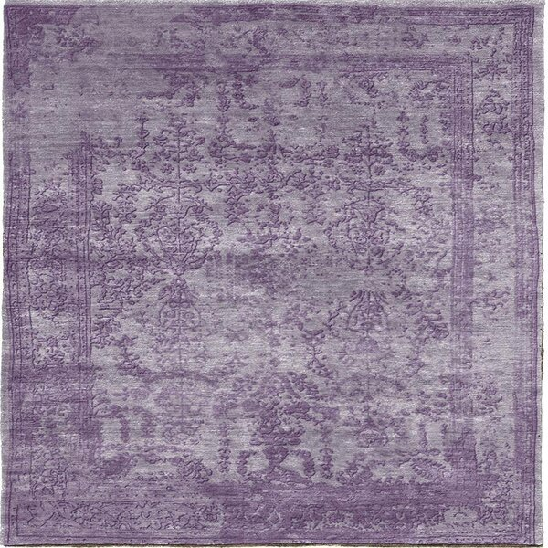 One-of-a-Kind Berthild Hand-Knotted Purple 10' Square Area Rug