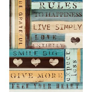 Rules to Happiness Textual Art on Wrapped Canvas by PTM Images