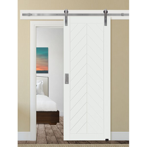 Chevron Panelled Wood Interior Barn Door by Barndoorz