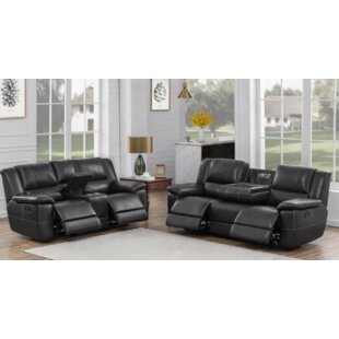 Lee Pillow Arm Motion Sofa And Loveseat Set Black by Latitude Run®