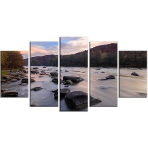 'Rocky Mountain River in Autumn' Photographic Print Multi-Piece Image on Canvas by Design Art