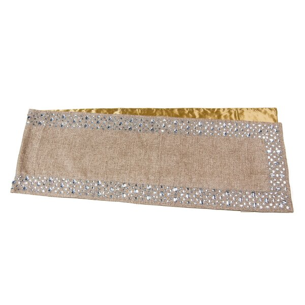 Burlap with Stones Scatter Border Table Runner by Sivaana