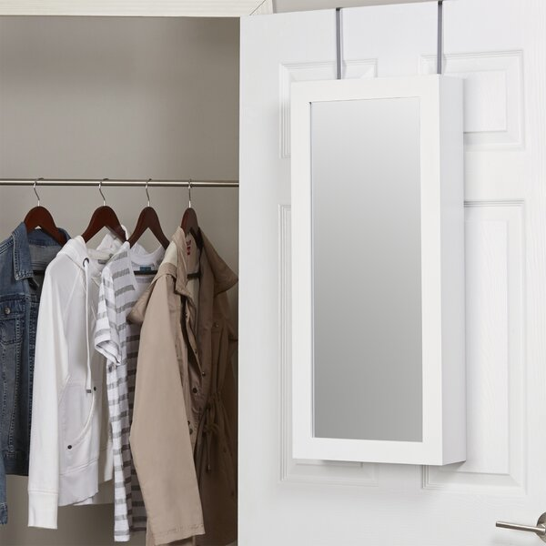 Kristen Jewelry and Makeup Cabinet Over the Door Jewelry Armoire with Mirror by Zipcode Design