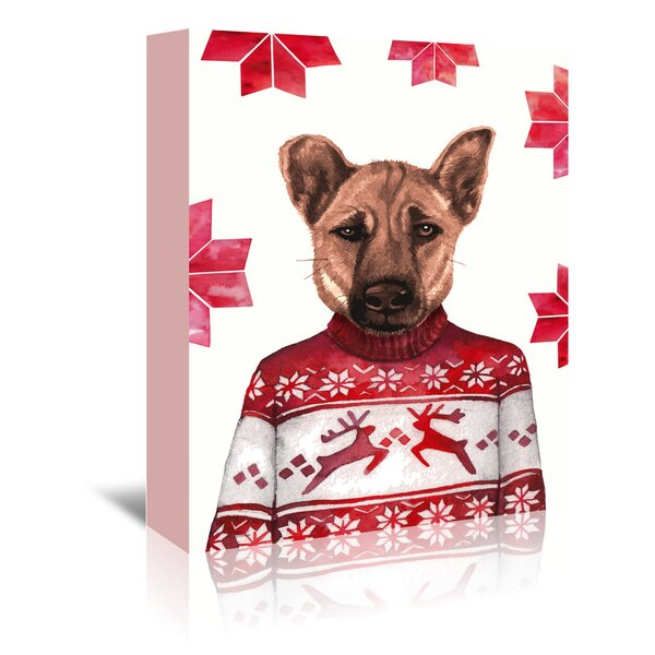 Dog with Snowflake Background Painting Print on Wrapped Canvas by East Urban Home