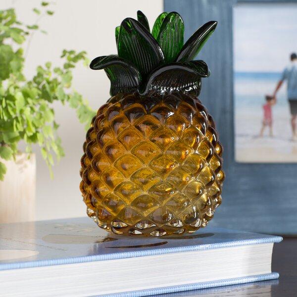 Gisla Glass Pineapple Sculpture by Beachcrest Home