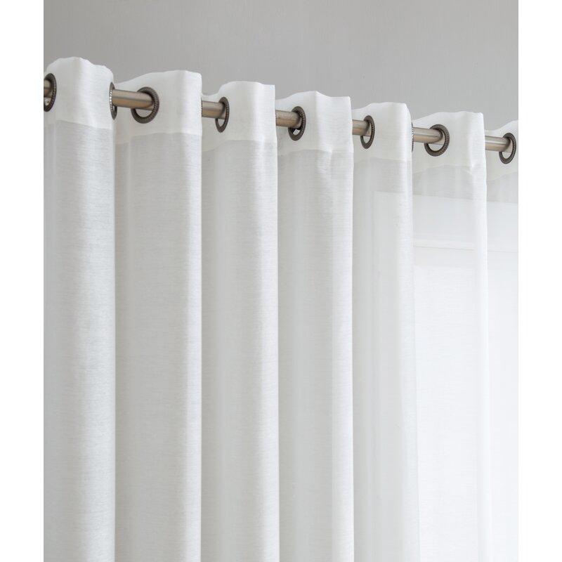 Lenwood Patio Door Solid Sheer Grommet Single Curtain Panel