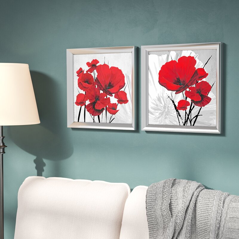 Winston Porter Big Red Poppies 2 Piece Framed Graphic Art