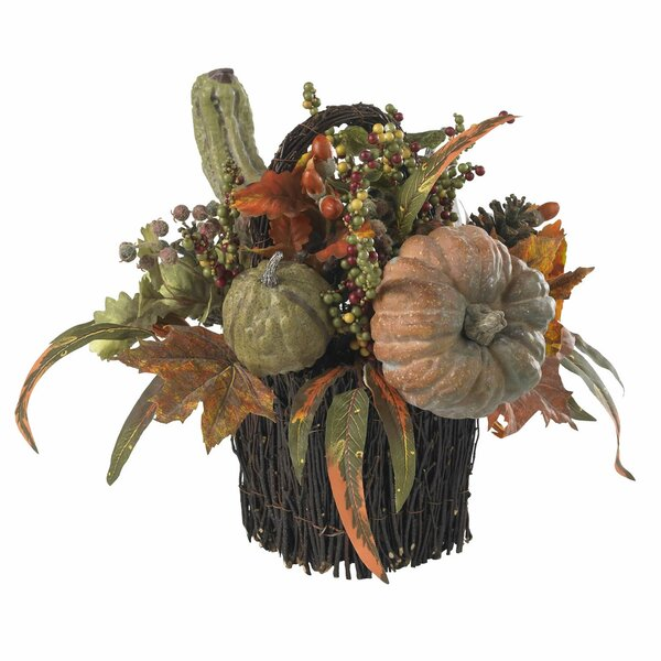 Fall Pumpkin & Berry Table Arrangement by Nearly Natural