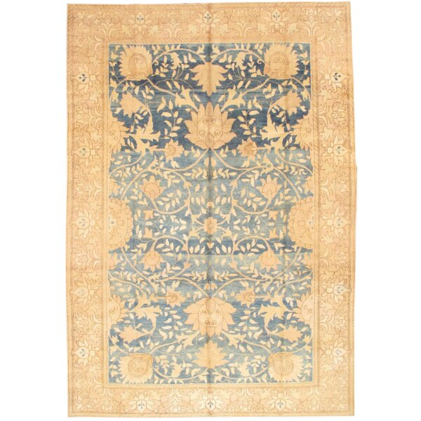 One-of-a-Kind Gargano Hand-Knotted Blue/Ivory 9'9 x 14'2 Wool Area Rug
