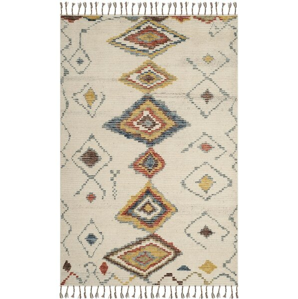 Glenoe Hand-Knotted Ivory Area Rug by Bloomsbury Market