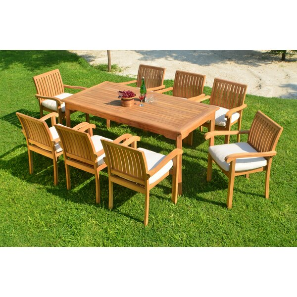 Kyla Luxurious 9 Piece Teak Dining Set by Rosecliff Heights