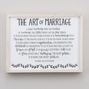 'Art of Marriage' Framed Textual Art on Wood by Glory Haus