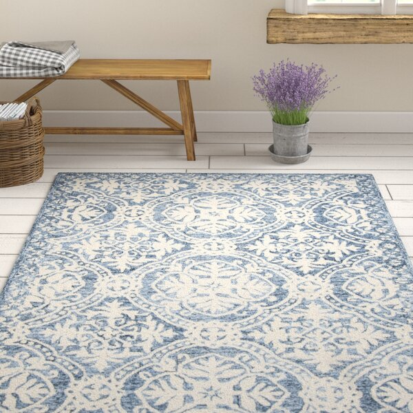 Salerna Hand-Tufted Wool/Cotton Blue/Ivory Area Rug by Ophelia & Co.