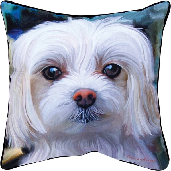 Little Lord Malty Maltese Throw Pillow by Manual Woodworkers & Weavers