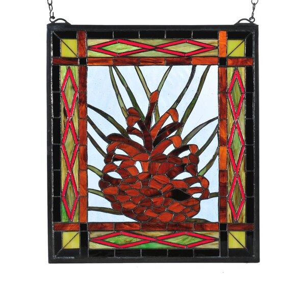 Northwoods Pinecone Center Stained Glass Window by Meyda Tiffany