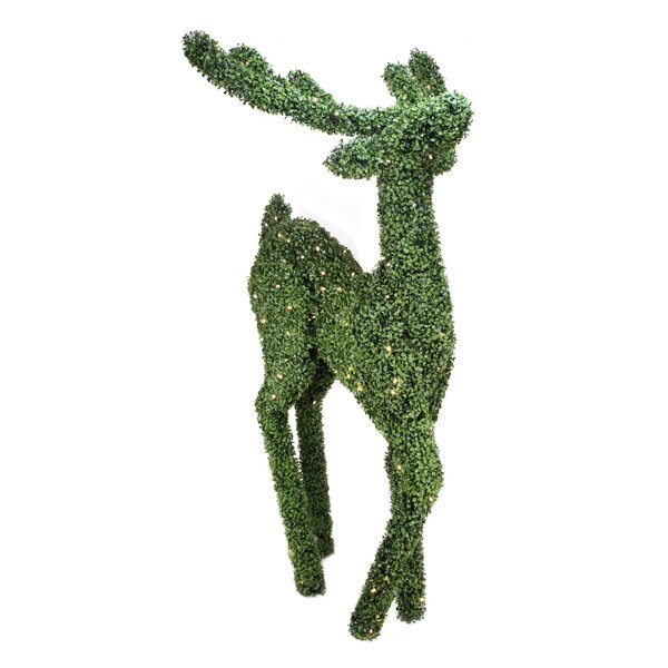 Pre-Lit Boxwood Standing Reindeer Christmas Yard Art Decoration - Warm White LED Lights by Northlight Seasonal