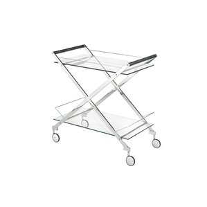 Almanzar Modern Design Steel Glass Bar Cart by Everly Quinn