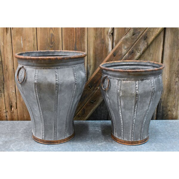 Carlin Galvanized 2 Piece Steel Pot Planter Set by Gracie Oaks