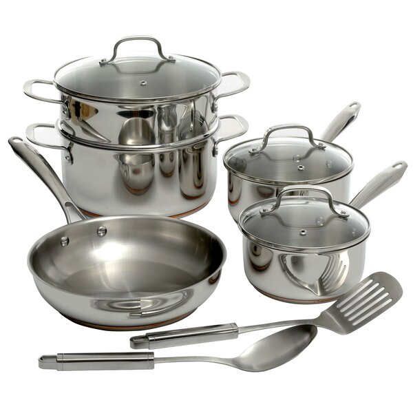 Lexie 10 Piece Stainless Steel Cookware Set with Lid by Symple Stuff