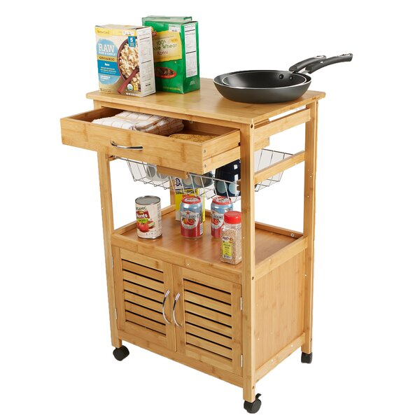 3 Tier Space-Saving Trolley Utility Organizer Rack Bamboo Kitchen Cart by Mind Reader