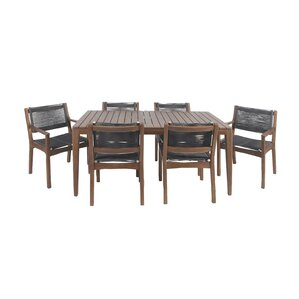 North La Junta Rustic Teak Wood and Stainless Steel 7 Piece Dining Set by Bungalow Rose
