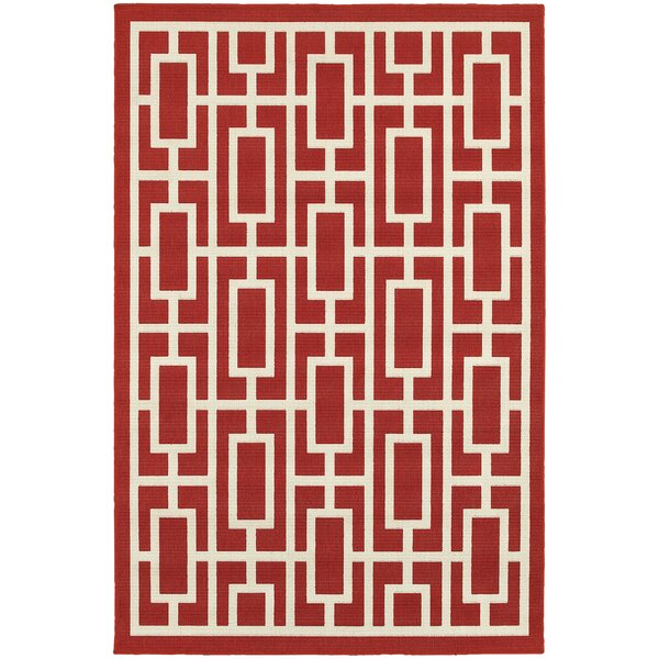 Kailani Geometric Red/Ivory Indoor/Outdoor Rug
