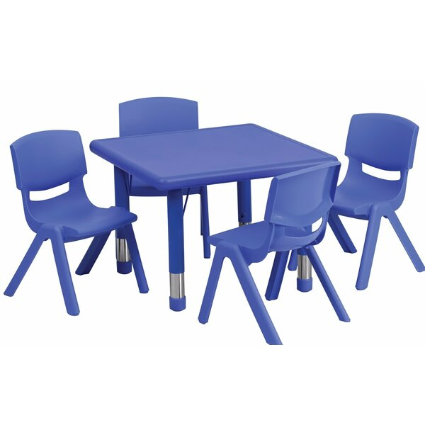 Adjustable 5 Piece Square Activity Table and Chair Set by Offex