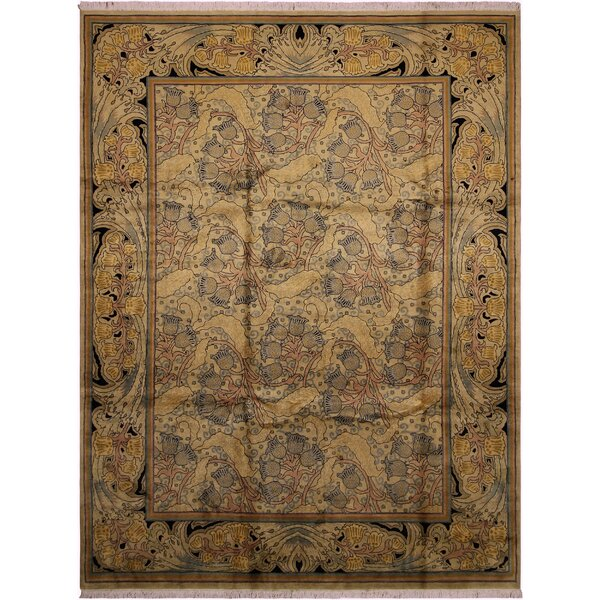 One-of-a-Kind Mulhall Hand-Knotted Wool Gold/Blue Area Rug by Bloomsbury Market