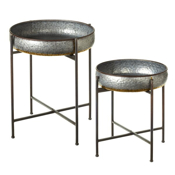 Albinson Galvanized 2 Piece End Table Set by Gracie Oaks