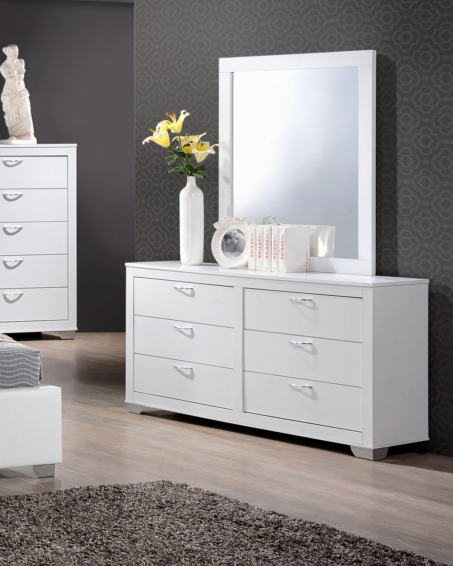 Latitude Run Louise 6 Drawer Double Dresser With Mirror Reviews Wayfair Ca
